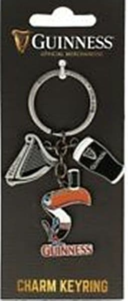 Guinness keyring with Toucan, Harp & Pint charms (sg 5641)
