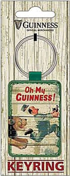 Guinness Lion & Zookeeper  PU Leather Keyring  (sg)