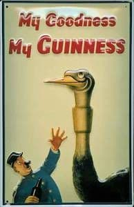 Guinness Ostrich Embossed Metal Sign 300mm x 200mm (hi)