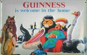 Guinness Welcome in the Home Steel Sign (animals)  (300mm x 200mm (hi)
