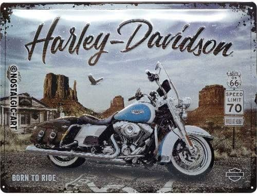 Harley Davidson Born To Ride large embossed metal sign 400mm x 300mm (na)