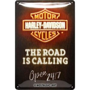 Harley Davidson The Road Is Calling Neon Look Medium Metal Sign 200mm x 300mm (na)