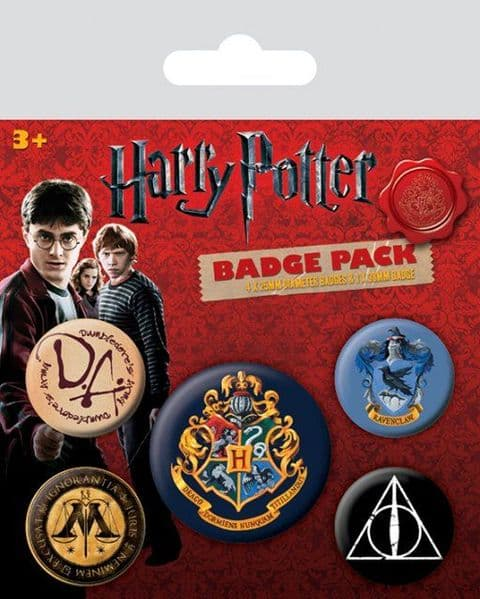 Harry Potter 5 round Pin Badges in Pack (py)