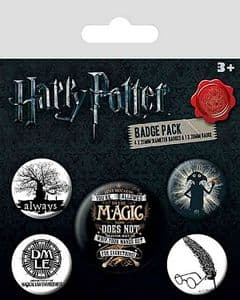 Harry Potter Symbols 5 round Pin Badges in Pack (py)