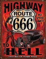 Highway To Hell Route 666 Large Metal Sign 400mm x 300mm (de)