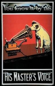 HMV His Masters Voice Nipper ''You Know It By This'' embossed metal sign  (hi 2030)