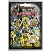 Iron Maiden 5 round Pin Badges in Pack Early Albums (ro)