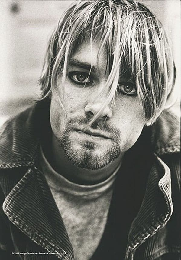 Kurt Cobain Nirvana Close Up large fabric poster/ flag 1100mm x 750mm  (hr)