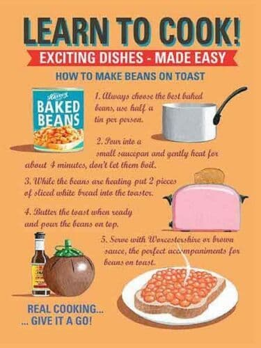 Learn To Cook: Beans On Toast Small Metal Sign 200mm x 150mm (og)