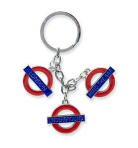 London Underground Roundel Charms Silver Chain Keyring (gwc)