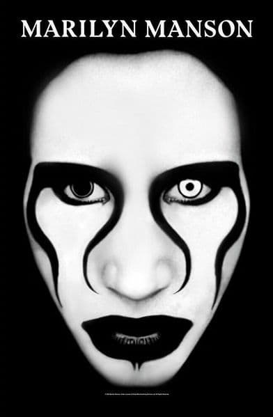 Marilyn Manson Defiant Face large fabric poster / flag 1100mm x 750mm (rz)