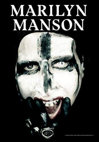 Marilyn Manson Face With Cross large fabric poster / flag 1100mm x 750mm (hr)