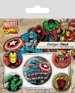 Marvel Comics Captain America 5 round Pin Badges in Pack (py)