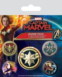 Marvel Comics Captain Marvel  5 round Pin Badges in Pack (py)
