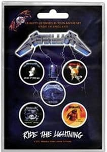 Metallica Ride The Lightning  5 Pin Badges in Pack (rz)