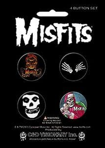Misfits 4 round Pin Badges in Pack (cv)