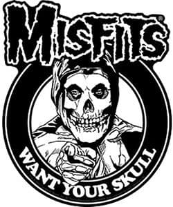 Misfits Want Your Skull vinyl sticker 130mm x 100mm  (cv)