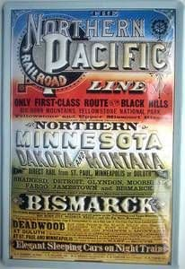 Northern Pacific Line embossed steel sign