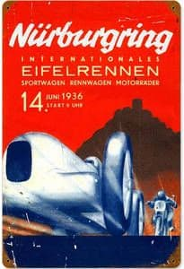 Nurburgring 1936 rusted metal sign 450mm x 300mm (pst 1812)