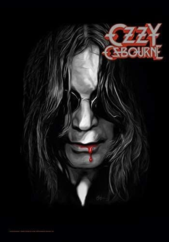 Ozzy Osbourne Face with Blood Dripping From Mouth large fabric poster / flag 1100mm x 750mm (hr)