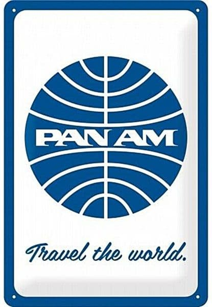 Pan Am Travel The World  embossed metal sign  300mm x 200mm (na)