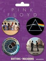 Pink Floyd 4 round Pin Badges on card (nm)