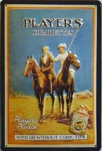 Players Cigarettes Polo ad. embossed steel sign