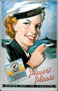 Players Please female sailor embossed steel sign
