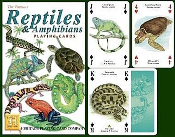Reptiles and Amphibians set of 52 playing cards (+ jokers)    (hpc)