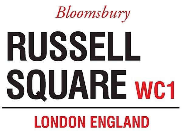Russell Square, London small metal sign   (og 2015)