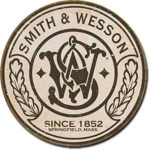Smith & Wesson Guns round metal sign