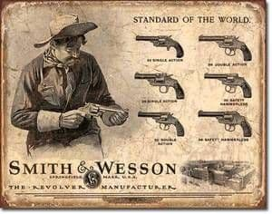 Smith & Wesson Standard of the World metal sign