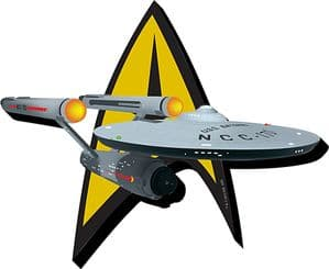 Star Trek Badge / Enterprise chunky thick fridge magnet    (nm)