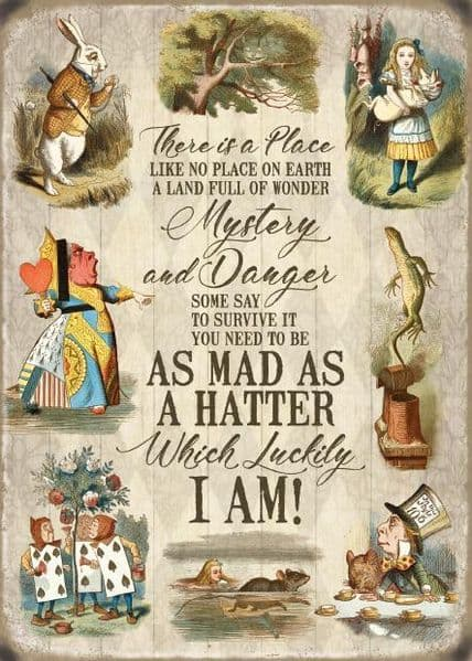 There Is A Place Like No Place Alice In Wonderland Collage Small Metal Sign 200mm x 150mm (og)