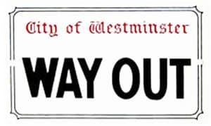 Way Out small enamel sign