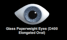 Glass Paperweight Eyes (D400 Elongated Oval)