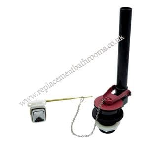 Toilet cistern flapper dual flush valve.  Push button ( tank mounted ) operated
