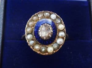 18ct gold georgian antique diamond seed pearl and enamel ring