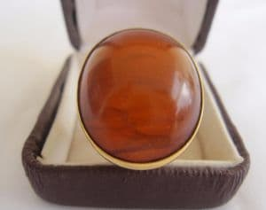 Amazing Huge Amber 18ct gold early Victorian Georgian heavy  ring rare