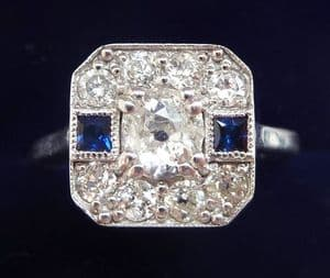 Beautiful 18ct 18k white gold art deco sapphire and 1.10ct diamond cluster ring