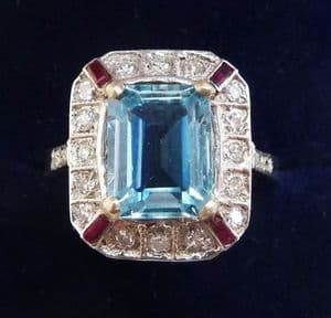 Big beautiful 18ct white gold 2ct aquamarine ruby and diamond cluster ring sz Q