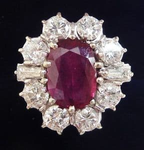 Fabulous art deco 18ct 18k white gold 2.75ct ruby and 1.60ct diamond vintage antique cluster ring