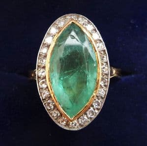 Fabulous victorian 18ct gold and silver 5ct emerald and diamond vintage antique marquise ring