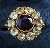 Gorgeous 18ct 18k gold garnet and chrysoberyl daisy cluster vintage antique ring c.1821