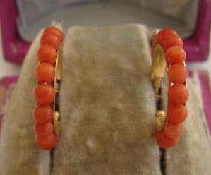 Gorgeous 18ct gold channel set coral creole earrings stud fittings