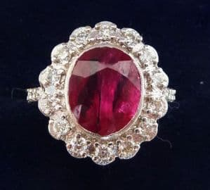 Gorgeous art deco 18ct 18k white gold 3.30ct ruby and diamond vintage antique cluster ring