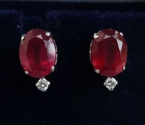 Gorgeous art deco 18ct 18k white gold 3.50ct ruby and diamond vintage antique earrings