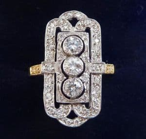 Gorgeous art deco 18ct 18k yellow and white gold elongated vintage antique diamond ring
