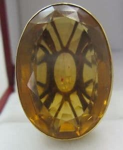 Huge citrine in 18ct gold superb mount ring  wow  1940's