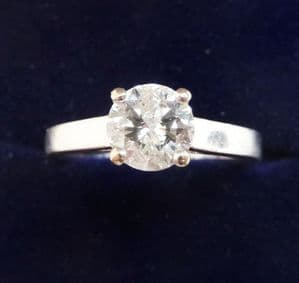 Stunning 18ct 18k white gold art deco 0.90ct diamond solitaire engagement vintage antique ring